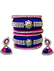 Mohana Silk Thread Jewellery Pink And Blue Silk Thread Bangles (133) (2.6)