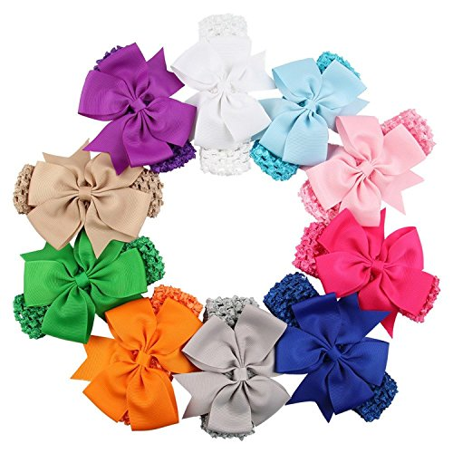 Qandsweet Baby Fishtail Bows Flower Hairbands (10 Pack)