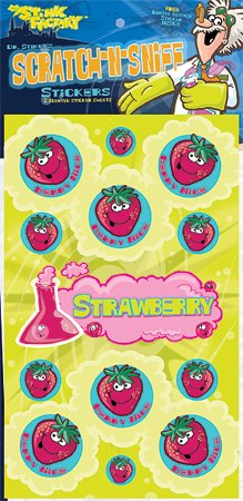 Dr Stinky's STRAWBERRY Scratch-n-Sniff Stickers, 2 sheets 4 x 6 3/4, 26 stickers