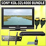 Sony Bravia L-Series KDL-32L4000 32-inch 720P LCD HDTV + Sony DVD Player w/ Wall Mount Accessory Kit
