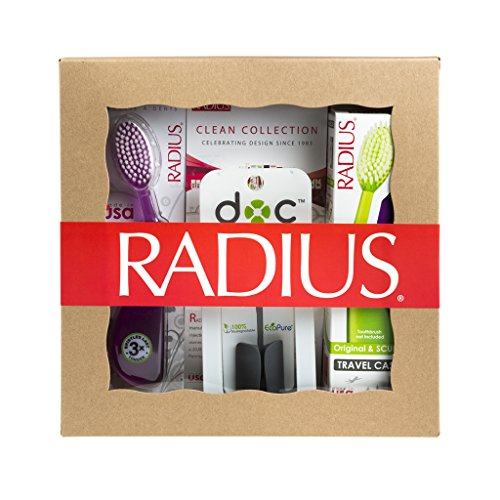 RADIUS Toothbrush with Travel Case and the DOC Toothbrush/Razor Holder Gift Set, Original Left Hand, Variety Pack, Colors May Vary