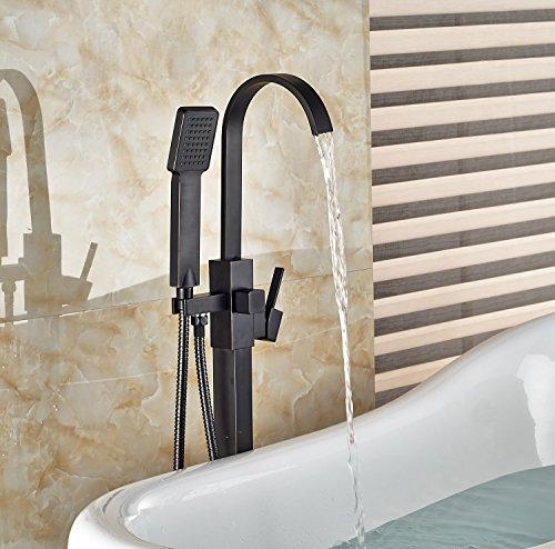 Votamuta New Floor Mount Single Handle Bathtub Mixer Faucet Free Standing with Handheld Shower Tub Filler (Faucet For Free Standing Tub compare prices)