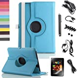 Pandamimi ULAK(TM) Bundle of 9PCS for Kindle Fire HD 7″ Tablet Aqua Blue 360 Rotating Stand PU Leather Case Cover + Screen Protector/Headphone/USB Cable/Car Charger/Stylus/Earphone splitter cable/Fishbone Shape Earphone Cord Winder/Headphone tips