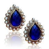 Adiva Copper Stud Earring For Women (White)