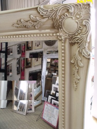 Large Cream / Ivory Shabby Chic Framed BEVELLED Mirror 42inch x 30inch (107cm x 76cm) Stunning Quality - Ready to Hang - ITV Show Supplier