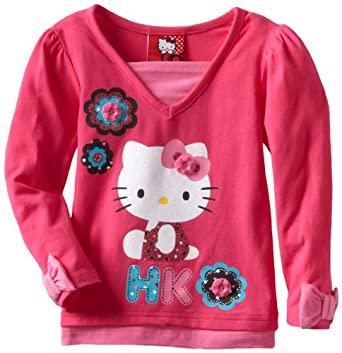 Hello Kitty Girls 2-6x HK Long Sleeve Top 3 Flowers Screen, Pink, 2T