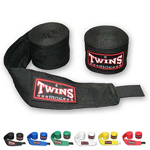 Twins Special Muay Thai Boxing Cotton Handwraps CH-1 CH-2 Hand Wraps Color Black Blue Red White Green Yellow for Muay Thai, Boxing, Kickboxing, MMA