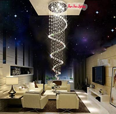H67' Spiral Crystal Pendant Light Staircase Chandelier Ceiling Lamp LED Lighting ;P#O455K5/U 7RK-B2746