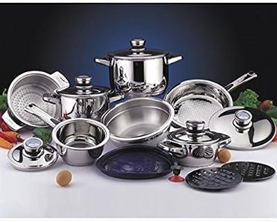Pride CroMoTanium Steel Dishwasher-Safe Cookware Set with 6-Layer Sandwich Base - 16-Piece Set