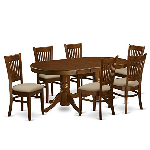 East West Furniture VANC7-ESP-C 7-Piece Dining Table Set (Oval Pedestal Table With Leaf compare prices)