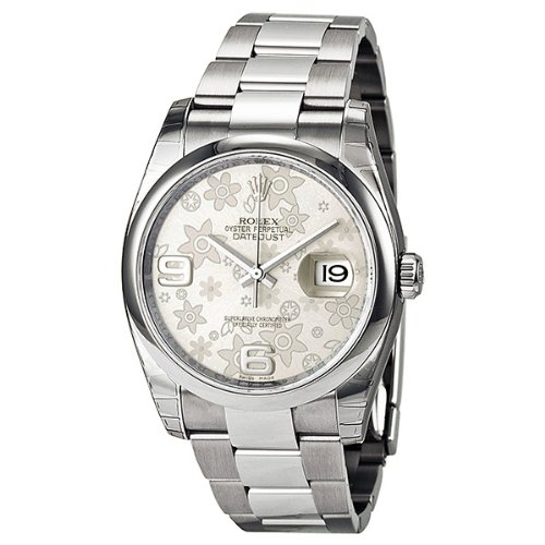 Rolex Datejust Automatic Silver Floral Dial Stainless Steel Ladies Watch 116200SFAO