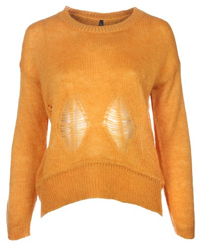 Women's Knitwear- Knitted Jumper  Leaf Cut-outs