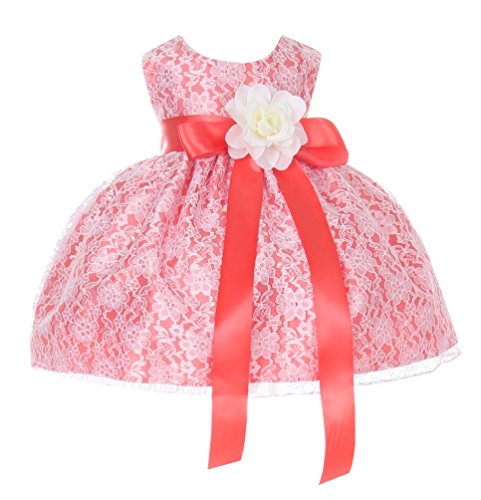 Cinderella Couture Baby Girls' Coral Lace Flower Girl Dress & Flower Sash