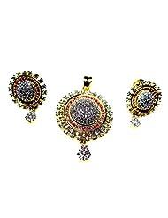 Poddar Jewels Cubic Zirconia Red Round Pendant Set