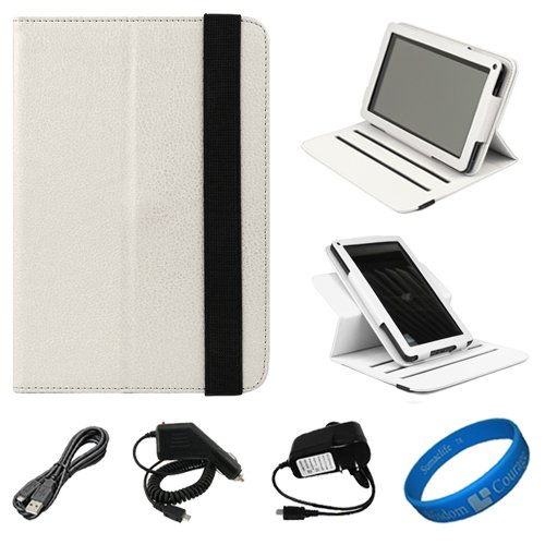 White Textured Leather Folio Case Cover with Fold to Stand Feature for  Kindle Fire 7 LCD Display, Wi Fi, 8GB Android Tablet Designed for 2011 and 2012 Models + Black Micro USB Car Charger + Black Micro USB Wall / Home Charger + Black Micro USB Sync
