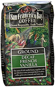 San Francisco Bay Coffee Ground, Decaf French Vanilla, 12 Ounce