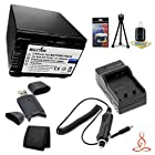 Halcyon 2500 mAH Lithium Ion Replacement NP-FV100 Battery and Charger Kit + Memory Card Wallet + SDHC Card USB Reader + Deluxe Starter Kit for Sony HDR-XR260V High Definition Handycam Camcorder and Sony NP-FV100