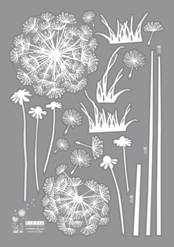 Reusable Easy Wall Applique Stickers - Dandelion Seed Stem