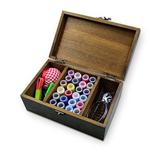 Usmhome Retro Natural Wooden Sewing Box with 24 Colors Sewing Thread and 13 Kinds Accessories