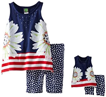 Dollie & Me Little Girls' Sleeveless Mirror Placement Tunic Over Printed Bike Short And Matching Doll Garment, Red/White/Blue, 7