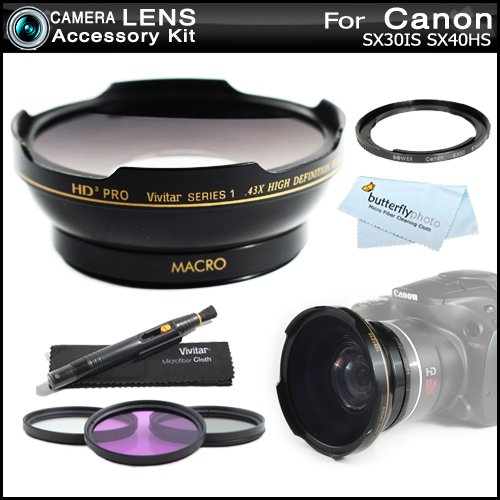 67mm HD Wide Angle Lens Kit For Canon SX40 HS SX40HS SX30 IS SX30IS Includes 67mm Vivitar Series 1 HD3 Optics 0.43x High Definition Wide Angle Lens with Macro + Necessary Filter Adapter (Replaces Canon FA-DC67A) + 3pc Filter Kit (UV-CPL-FLD) + LensPen ++