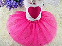 Idepet(TM) Spring Summer Pet Dog Cat Puppy Tutu Princess Dress Heart Printed Lace Skirt Clothes Pet Apparel