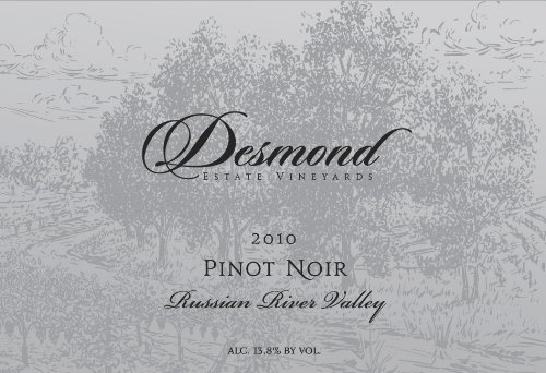 2010 Desmond Wines Russian River Valley Estate Pinot Noir 750 Ml