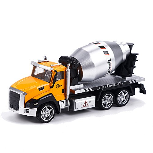 Kidcia Die-cast Alloy Vehicles Concrete Mixer Truck Model Pull Backs Collectible Car Models for Kids