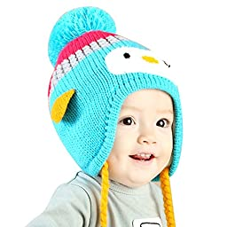 IMLECK Baby Kids Warm Winter Cute Animals Little Penguin Hats Thick Woolen Earflap Hood Hat