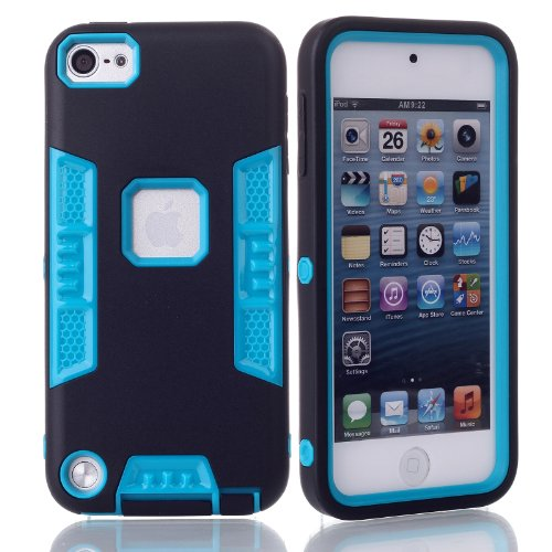 iTouch 5,iPod Touch 6 Case,XRPow 3in1 Heavy Duty Protection Hybrid High Impact Armor Case Cover Protective Cover Case for Apple iPod touch 5 6th Generation (XR-Black Blue) (Ipod Cases 5 3in1 compare prices)