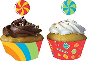 Creative Converting Sugar Buzz Decorative Cupcake Wrappers with Coordinating Topper Decorations , 24-Piece Count