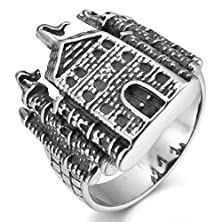 buy Men'S Stainless Steel Ring Silver Black Castle Vintage Size10