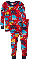 Gerber Baby Boys\' Construction 2 Piece Thermal Pajamas, Construction, 18 Months