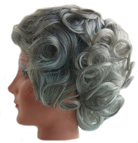 Deluxe British Queen Elizabeth Grey Curly Royal Old Lady Costume Wig