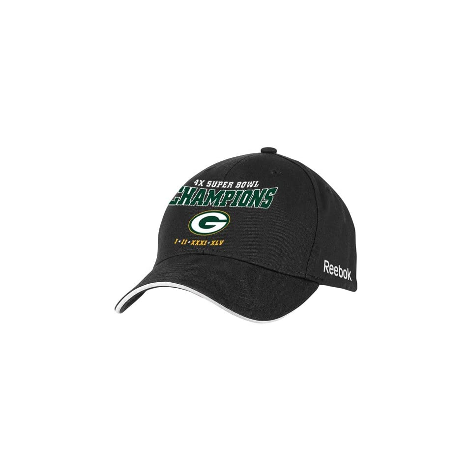 896666a377a19c Reebok Green Bay Packers Black Super Bowl XLV Champions 4X Champs  Structured Adjustable Hat