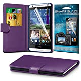 Fone-Case ( Purple ) HTC Desire 820 Case Brand New Luxury BookStyle PU Leather Wallet Flip With Credit / Debit Card Slot Case Skin Cover With LCD Screen Protector Guard, Polishing Cloth & Mini Retractable Stylus Pen