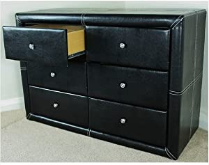 Black Faux Leather Odessa 6 Drawer Chest Dresser Amazon