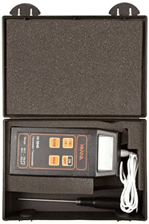 Hanna Instruments HI 9040 Microprocessor-Based Thermistor Thermometer, with Stainless Steel Probe, -50.0 to 150 degrees C;-58.0 to 302 degrees F, + or - 0.4 degrees C or 0.8 degrees F