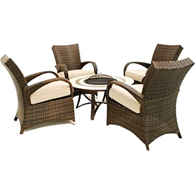 Black Rattan 4 Seater Fire Pit Boston Lounge Set by Worldstores