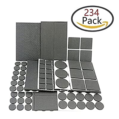 Homder 234 PCS Lightweight Reduced Non Slip Furniture Rubber Pads Heavy Duty Adhesive-Best Chair Leg Covers Feet ALL SIZES - Protect Your Hardwood & Laminate Flooring