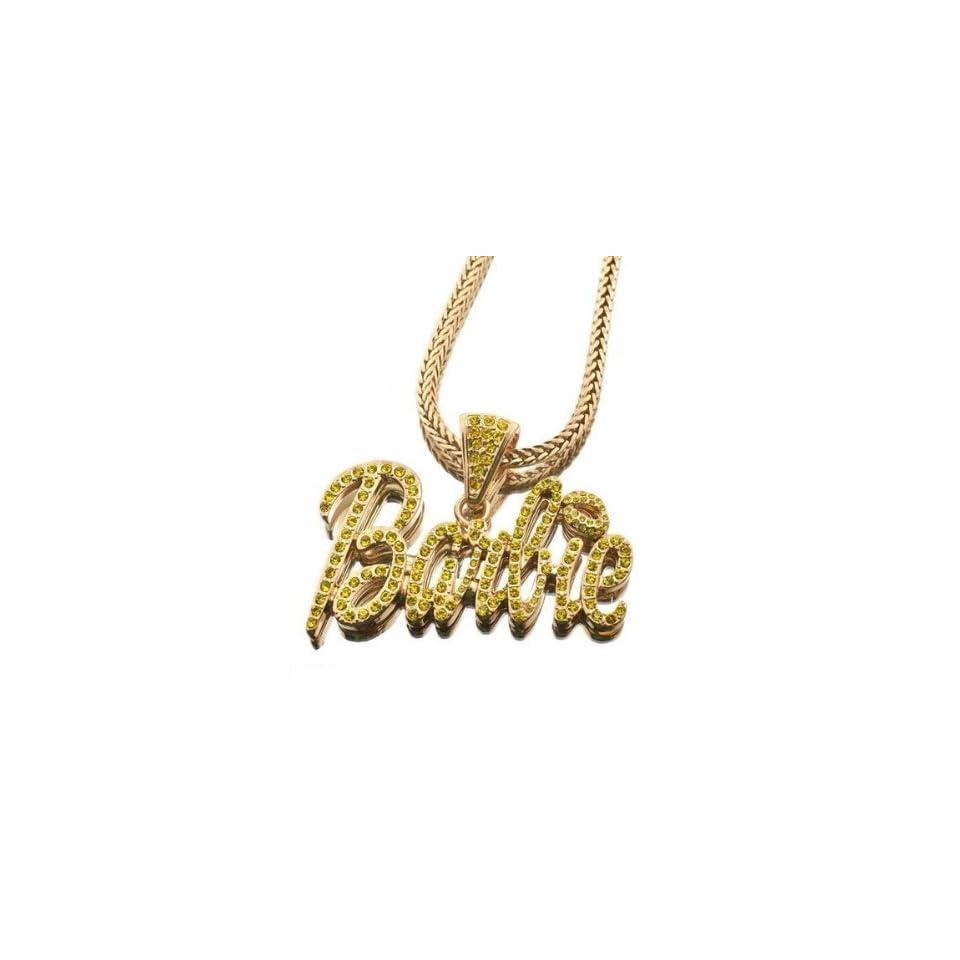 NEW NICKI MINAJ BARBIE Pendant w/Franco Chain Gold Sm Yellow