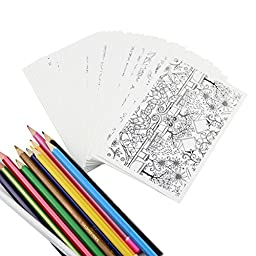Zerlar Coloring Greeting Cards Adult Coloring Postcards Set of 30