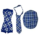juDanzy Hat, Tie & Leg Warmer Set for Baby & Toddler Boys (4-12 Months, Blue Plaid)