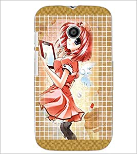 PrintDhaba Fantasy Girl D-5680 Back Case Cover for MOTOROLA MOTO E (Multi-Coloured)