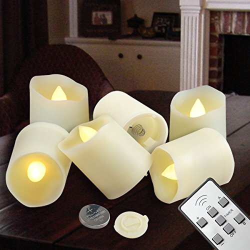 Flameless Candles LED Votive Unscented Tealight - Remote Control Timer Tea Lights - Include Battery Operated 200+ Hours - Flickering Amber Yellow Flame 3 Modes - Decoration Wedding Holiday 6 Candles (Flameless Remote Candle compare prices)
