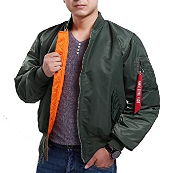 Seibertron Men's MA-1 Bomber Flight Waterproof/Water Repellent Jacket