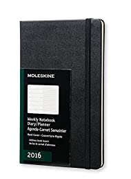 Moleskine 2016 Weekly Notebook, 12M, Large, Black, Hard Cover (5 x 8.25)