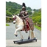 ナイト(騎士)・ブラインゴールドアーマー(茶金甲冑) on ホース(馬) 等身大フィギュア