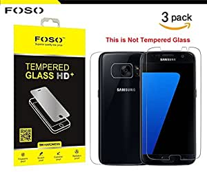 Samsung Galaxy S7 Edge Front & Back Plastic Flim Screen Protector (HD Ultra Clear Film TPU Curved Edge to Edge By FOSO(™) [3 PACK]