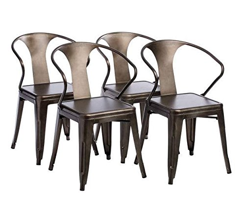 Tabouret Stacking Chair (Set of 4). This Set Of Dining Room Chairs Is Perfect For Adding A Vintage Look To Your Home. Crafted With A Solid Steel Construction And Coated With A Scratch-Resistant Finish These Chairs Will Last In Quality In Style. 0